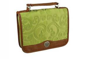 Classic (Green) Quilt Stitched Micro-Fiber Bible Cover- Large