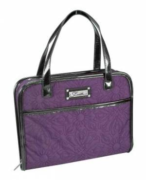 Faith (Purple) Quilted Purse-Style Bible Cover, Medium