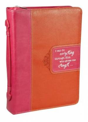 Large Bible Cover Pink/Orange Imitation Leather  Phil. 4:13- Large
