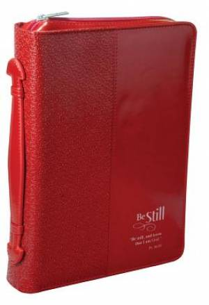 """Be Still"" (Red) LuxLeather Bible Cover, Medium"