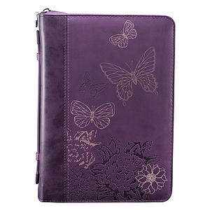 Butterflies (Purple) LuxLeather Bible Cover- Large