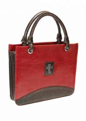Purse-Style Bible Cover Red Imitation Leather - Medium
