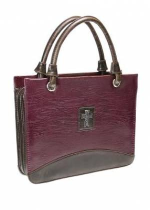 Cross (Purple) Vintage Finish Purse-Style Bible Cover, Medium