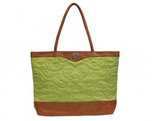 Embroidered Micro-Fiber Green Tote
