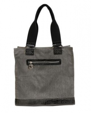 Brushed Gray Canvas & Croc Tote Bag (Black)