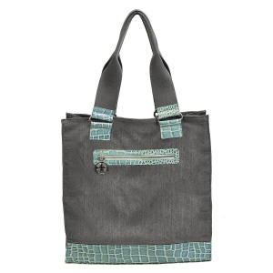 Brushed Gray Canvas & Croc Tote Bag (Turquoise)