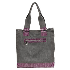 Brushed Gray Canvas & Croc Tote Bag (Purple)