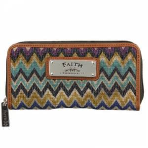 "Chevron Stripe Zippered Wallet w/""Faith"" Badge"