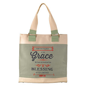 Retro Blessings Grace Canvas Tote Bag