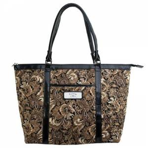 Brown Quilted Paisley Tote Bag w/