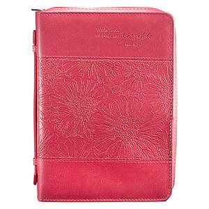 """""""All Things Are Possible"""" (Pink) LuxLeather Medium Bible Cover"""