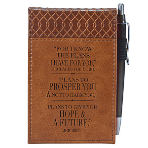 Brown Pocket Notepad w/Pen - Jer. 29:11