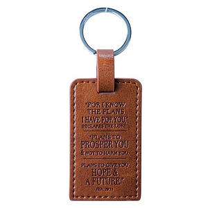I Know the Plans Jer 29:11 Brown LuxLeather Keyring