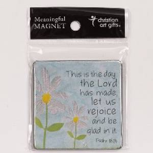 White Daisies Magnet Wood Psalm 118:24