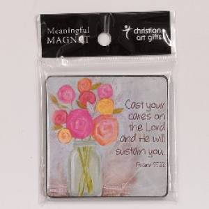 Flowers Magnet Wood Psalm 55:22
