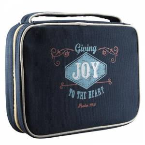 "Retro Blessings ""Joy"" (Navy) Canvas Bible Cover- Medium"