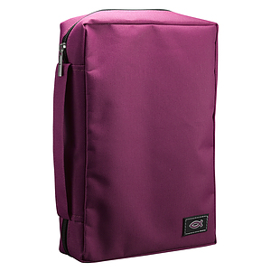 Fish Applique (Magenta) Poly-Canvas Bible Cover - Large