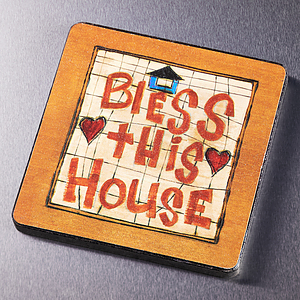 Bless This House Wood Magnet