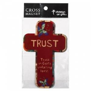Trust Red w/ Butterflies Cross Magnet