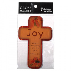 Joy Flowers 1 Thess 2:20 Cross Magnet