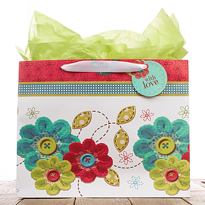 Gift Bag Lg Button Flowers With Love