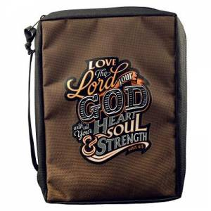 """Love The Lord Your God"" (Deut6:5) Poly-Canvas Bible Cover M"