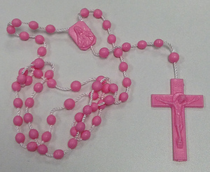 Plastic Rosary Corded Pink