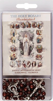 Wooden Rosary with Rosary Book