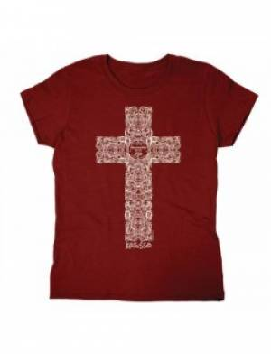 Engraved Cross T Shirt: Adult Small