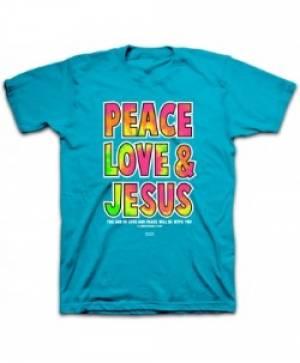 T-Shirt Peace Love Jesus  MEDIUM