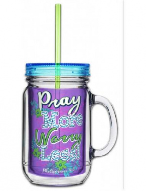 Acrylic Mason Jar w/ Straw - Pray More