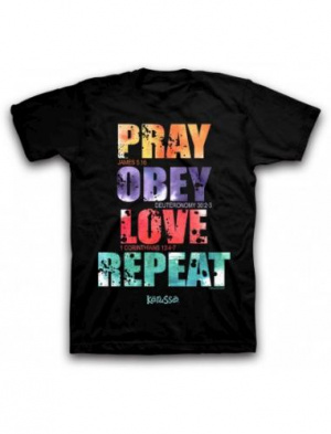 T-Shirt Pray Obey Love Repeat Adult Medium