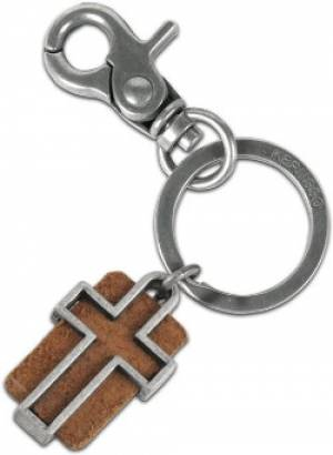 Leather Slotted Cross Keyring