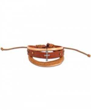 Wrapped Cord Cross Bracelet