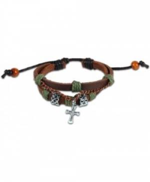 Leather & Chain Cross Bracelet