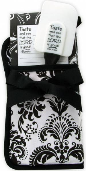 Oven Glove Kitchen Gift Set - Black and White