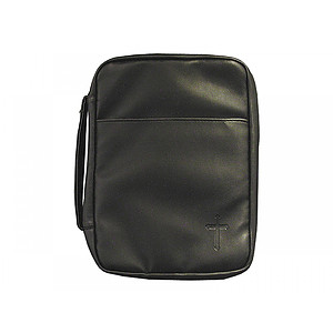 Bible Cover Black Cross Imitation Leather Large
