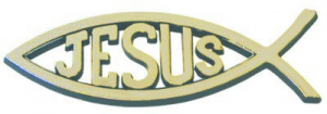 Fish Jesus Car Badge Gold