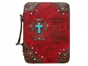 Fashion Bible Cover Cross/Hope Red