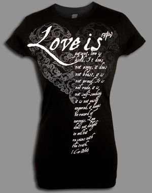 Love Is T Shirt Black Medium