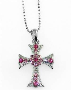 NECKLACE CROSS PINK SPARKLE
