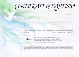 Certificate of Baptism: Pack of 20