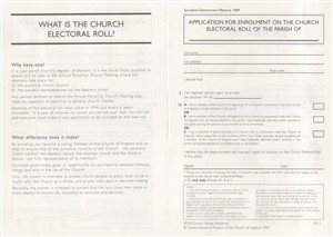 Synodical Government Forms : Application for Enrolment on the Electoral Roll (Sg 1) - Pack of 30