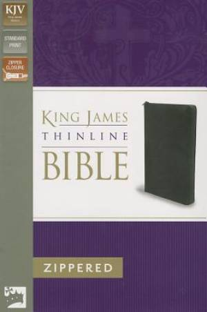 KJV Thinline Zip Bible Black Bonded Leather
