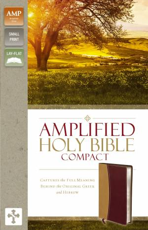 Amplified Compact Holy Bible: Camel/Burgundy, Imitation Leather