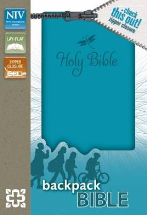 NIV, Backpack Zipper Bible, Imitation Leather, Turquoise, Red Letter