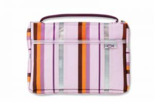 Sassy Stripes Pink and Lavender Medium Bible Cover