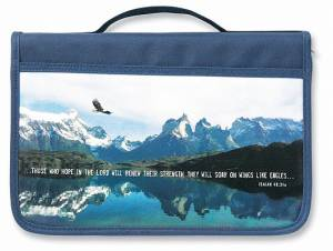 Bible Cover Large - Inspiration Eagle Canvas Navy