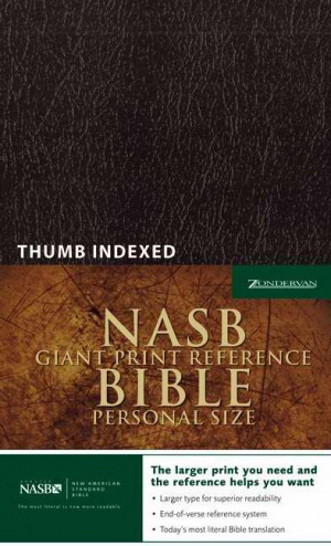 NASB Reference Bible: Black, Leather-Look, Giant Print, Thumb Index, Personal Size