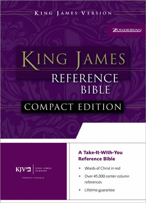 KJV Compact Bible: Burgundy, Premium Leather Look, Reference, Button Flap